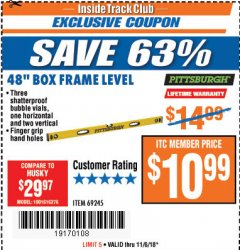 "Harbor Freight ITC Coupon 48"" BOX FRAME LEVEL Lot No. 69245 Expired: 11/6/18 - $10.99"