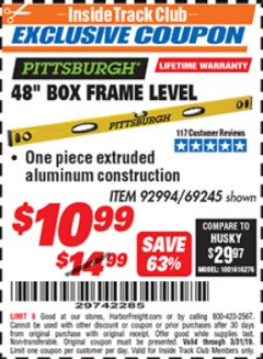 "Harbor Freight ITC Coupon 48"" BOX FRAME LEVEL Lot No. 69245 Expired: 3/31/19 - $10.99"
