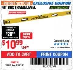 "Harbor Freight ITC Coupon 48"" BOX FRAME LEVEL Lot No. 69245 Expired: 5/14/19 - $10.99"