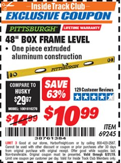 "Harbor Freight ITC Coupon 48"" BOX FRAME LEVEL Lot No. 69245 Expired: 8/31/19 - $10.99"