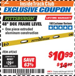 "Harbor Freight ITC Coupon 48"" BOX FRAME LEVEL Lot No. 69245 Expired: 10/31/19 - $10"
