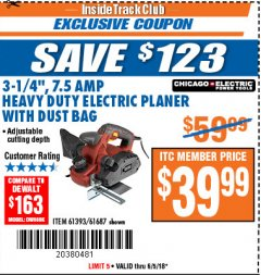 "Harbor Freight ITC Coupon 3-1/4"" HEAVY DUTY ELECTRIC PLANER WITH DUST BAG Lot No. 61393/95838/61687 Expired: 6/5/18 - $39.99"