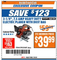 "Harbor Freight ITC Coupon 3-1/4"" HEAVY DUTY ELECTRIC PLANER WITH DUST BAG Lot No. 61393/95838/61687 Expired: 7/10/18 - $39.99"