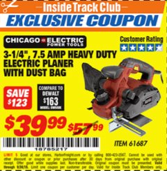 "Harbor Freight ITC Coupon 3-1/4"" HEAVY DUTY ELECTRIC PLANER WITH DUST BAG Lot No. 61393/95838/61687 Expired: 9/30/18 - $39.99"