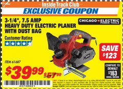 "Harbor Freight ITC Coupon 3-1/4"" HEAVY DUTY ELECTRIC PLANER WITH DUST BAG Lot No. 61393/95838/61687 Expired: 11/30/18 - $39.99"