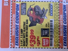 "Harbor Freight ITC Coupon 3-1/4"" HEAVY DUTY ELECTRIC PLANER WITH DUST BAG Lot No. 61393/95838/61687 Expired: 1/31/19 - $39.99"