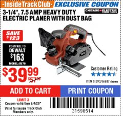 "Harbor Freight ITC Coupon 3-1/4"" HEAVY DUTY ELECTRIC PLANER WITH DUST BAG Lot No. 61393/95838/61687 Expired: 2/4/20 - $39.99"