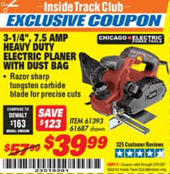"Harbor Freight ITC Coupon 3-1/4"" HEAVY DUTY ELECTRIC PLANER WITH DUST BAG Lot No. 61393/95838/61687 Expired: 3/31/20 - $39.99"