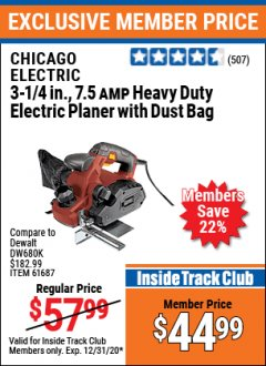 "Harbor Freight ITC Coupon 3-1/4"" HEAVY DUTY ELECTRIC PLANER WITH DUST BAG Lot No. 61393/95838/61687 Expired: 12/31/20 - $44.99"