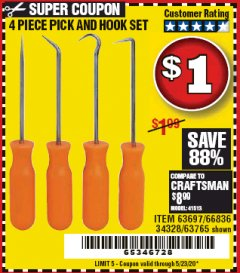 Harbor Freight Coupon 4 PIECE PICK AND HOOK SET Lot No. 63697/66836/34328/63765 EXPIRES: 6/30/20 - $0.01