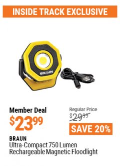 Harbor Freight ITC Coupon BRAUN ULTRA-COMPACT 750 LUMEN RECHARGEABLE MAGNETIC FLOODLIGHT Lot No. 57187 Valid Thru: 4/29/21 - $23.99