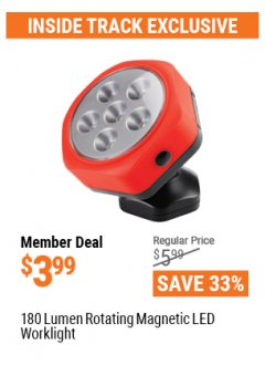 Harbor Freight ITC Coupon 180 LUMEN ROTATING MAGNETIC LED WORKLIGHT Lot No. 63766, 62955, 63422, 64066 Valid: 3/26/21 - 4/29/21 - $3.99
