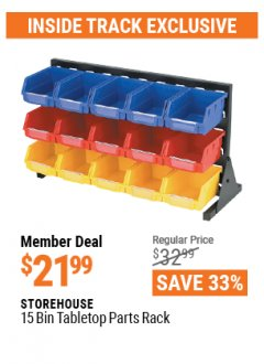 Harbor Freight ITC Coupon 15 BIN TABLETOP PARTS RACK Lot No. 93198 Valid: 4/1/21 - 4/29/21 - $21.99