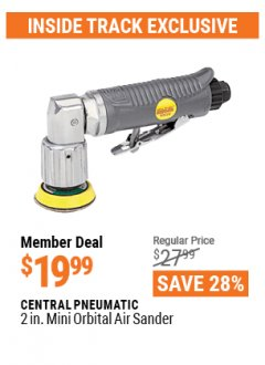 Harbor Freight ITC Coupon 2 IN. MINI ORBITAL AIR SANDER Lot No. 93629 Valid: 4/1/21 - 4/29/21 - $19.99