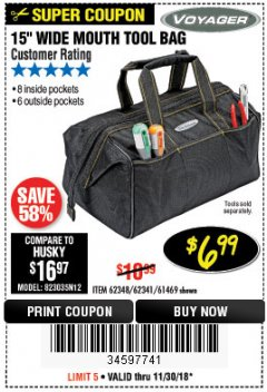 "Harbor Freight Coupon 15"" TOOL BAG Lot No. 61469/94993/62348/62341 Expired: 11/30/18 - $6.99"