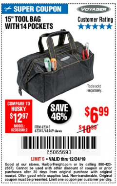 "Harbor Freight Coupon 15"" TOOL BAG Lot No. 61469/94993/62348/62341 Expired: 12/24/19 - $6.99"
