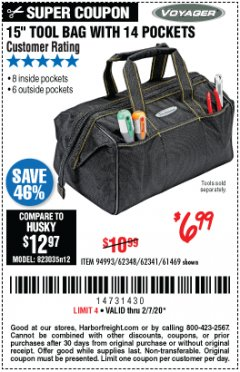 "Harbor Freight Coupon 15"" TOOL BAG Lot No. 61469/94993/62348/62341 Expired: 2/7/20 - $6.99"