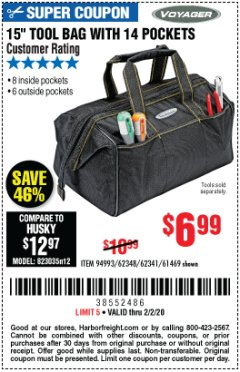 "Harbor Freight Coupon 15"" TOOL BAG Lot No. 61469/94993/62348/62341 Expired: 2/2/20 - $6.99"