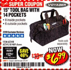 "Harbor Freight Coupon 15"" TOOL BAG Lot No. 61469/94993/62348/62341 Expired: 3/31/20 - $6.99"