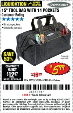 "Harbor Freight Coupon 15"" TOOL BAG Lot No. 61469/94993/62348/62341 Expired: 3/31/20 - $5.99"