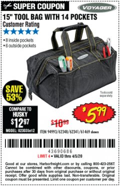 "Harbor Freight Coupon 15"" TOOL BAG Lot No. 61469/94993/62348/62341 Expired: 6/30/20 - $5.99"