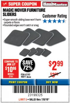Harbor Freight Coupon MAGIC MOVER FURNITURE SLIDERS Lot No. 40071/62182 Expired: 7/8/18 - $2.99