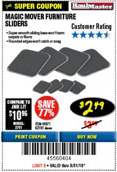 Harbor Freight Coupon MAGIC MOVER FURNITURE SLIDERS Lot No. 40071/62182 Expired: 8/31/18 - $2.49