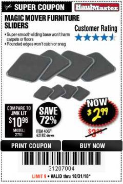 Harbor Freight Coupon MAGIC MOVER FURNITURE SLIDERS Lot No. 40071/62182 Expired: 10/31/18 - $2.99