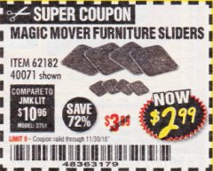 Harbor Freight Coupon MAGIC MOVER FURNITURE SLIDERS Lot No. 40071/62182 Expired: 11/30/18 - $2.99
