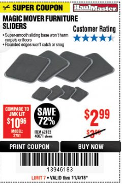 Harbor Freight Coupon MAGIC MOVER FURNITURE SLIDERS Lot No. 40071/62182 Expired: 11/4/18 - $2.99