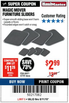 Harbor Freight Coupon MAGIC MOVER FURNITURE SLIDERS Lot No. 40071/62182 Expired: 8/11/19 - $2.99