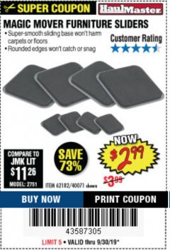 Harbor Freight Coupon MAGIC MOVER FURNITURE SLIDERS Lot No. 40071/62182 Expired: 9/30/19 - $2.99
