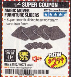 Harbor Freight Coupon MAGIC MOVER FURNITURE SLIDERS Lot No. 40071/62182 Expired: 10/31/19 - $2.99