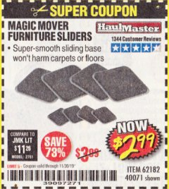 Harbor Freight Coupon MAGIC MOVER FURNITURE SLIDERS Lot No. 40071/62182 Expired: 11/30/19 - $2.99