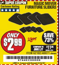 Harbor Freight Coupon MAGIC MOVER FURNITURE SLIDERS Lot No. 40071/62182 Expired: 12/14/19 - $2.99