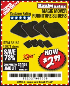 Harbor Freight Coupon MAGIC MOVER FURNITURE SLIDERS Lot No. 40071/62182 Expired: 2/15/20 - $2.99