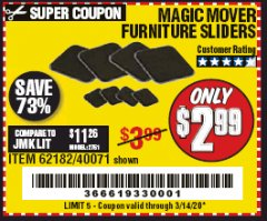 Harbor Freight Coupon MAGIC MOVER FURNITURE SLIDERS Lot No. 40071/62182 Expired: 3/14/20 - $2.99