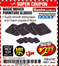 Harbor Freight Coupon MAGIC MOVER FURNITURE SLIDERS Lot No. 40071/62182 Expired: 3/31/20 - $2.99