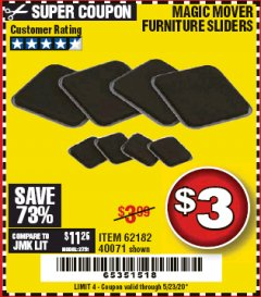 Harbor Freight Coupon MAGIC MOVER FURNITURE SLIDERS Lot No. 40071/62182 Expired: 6/30/20 - $3