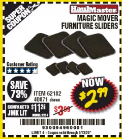Harbor Freight Coupon MAGIC MOVER FURNITURE SLIDERS Lot No. 40071/62182 Expired: 6/30/20 - $2.99