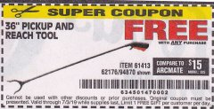 "Harbor Freight FREE Coupon 36"" PICKUP AND REACH TOOL Lot No. 94870/61413/62176 Expired: 7/3/19 - FWP"