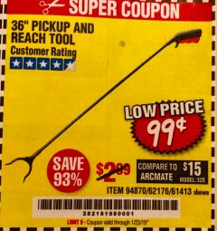"Harbor Freight Coupon 36"" PICKUP AND REACH TOOL Lot No. 94870/61413/62176 Expired: 1/23/19 - $0.99"