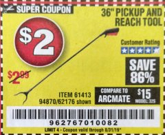 "Harbor Freight Coupon 36"" PICKUP AND REACH TOOL Lot No. 94870/61413/62176 Expired: 8/31/19 - $2"