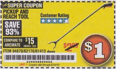 "Harbor Freight Coupon 36"" PICKUP AND REACH TOOL Lot No. 94870/61413/62176 Expired: 8/14/19 - $1"