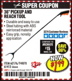 "Harbor Freight Coupon 36"" PICKUP AND REACH TOOL Lot No. 94870/61413/62176 Expired: 10/31/19 - $1.99"