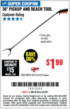 "Harbor Freight Coupon 36"" PICKUP AND REACH TOOL Lot No. 94870/61413/62176 Expired: 6/30/20 - $1.99"