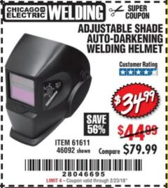 Harbor Freight Coupon ADJUSTABLE SHADE AUTO-DARKENING WELDING HELMET Lot No. 46092/61611 Valid: 12/28/17 - 2/23/08 - $44.99