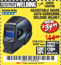 Harbor Freight Coupon ADJUSTABLE SHADE AUTO-DARKENING WELDING HELMET Lot No. 46092/61611 Expired: 10/15/18 - $34.99