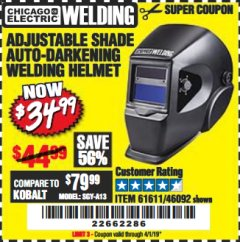 Harbor Freight Coupon ADJUSTABLE SHADE AUTO-DARKENING WELDING HELMET Lot No. 46092/61611 Expired: 4/1/19 - $34.99