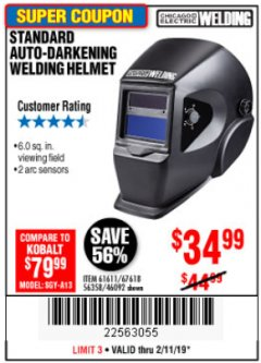 Harbor Freight Coupon ADJUSTABLE SHADE AUTO-DARKENING WELDING HELMET Lot No. 46092/61611 Expired: 2/11/19 - $34.99